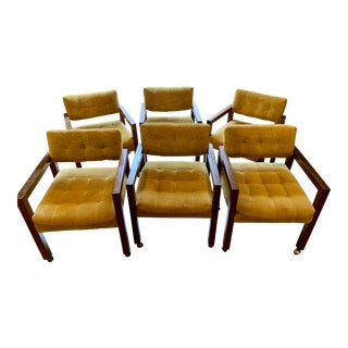 Milo Baughman for Thayer Coggin Club Chairs - Set of 6 For Sale