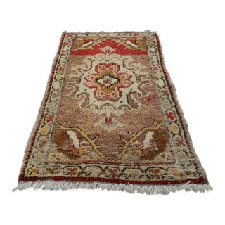 1970s Old Handknotted Oriental Small Salesman Sample Table Top Traditional Gift Rug For Sale