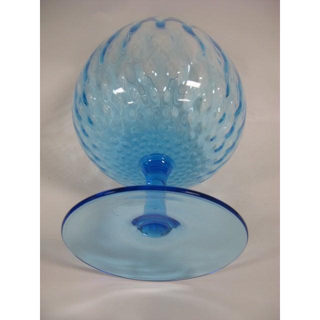 Glass 1960s Empoli Aqua Blue Optic Glass Snifter Vase For Sale - Image 7 of 13