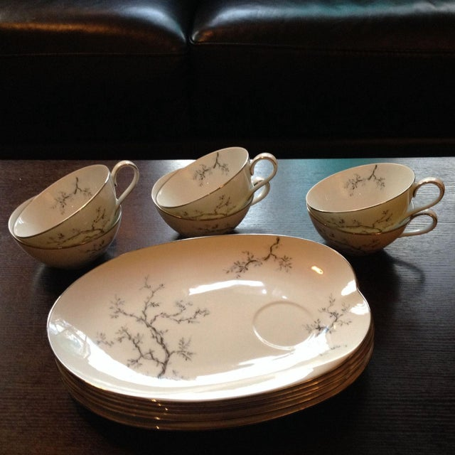 Asian Tea Cups & Luncheon Plates - Set of 6 For Sale - Image 3 of 8