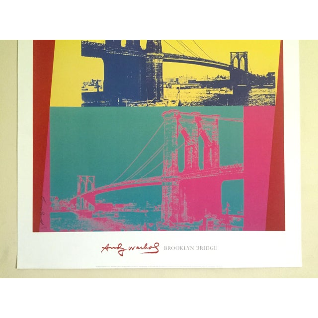 """Americana Andy Warhol Foundation Vintage Pop Art Lithograph Poster """" Brooklyn Bridge """" 1983 For Sale - Image 3 of 9"""