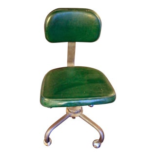1970s Vintage Mid-Century Modern Industrial Green Leather Drafting Chair