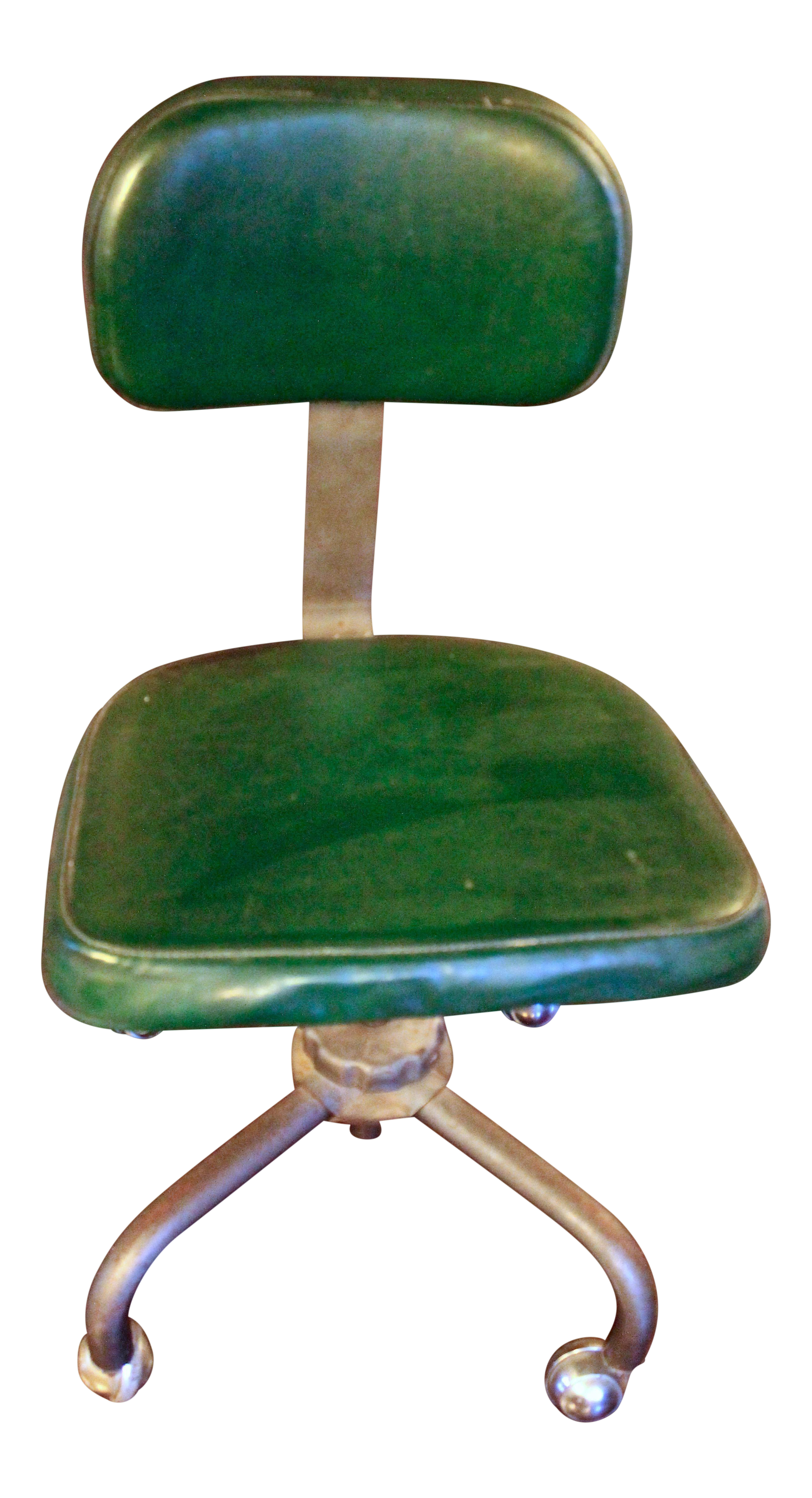 1970s Vintage Mid Century Modern Industrial Green Leather Drafting Chair    Image 1 Of 9