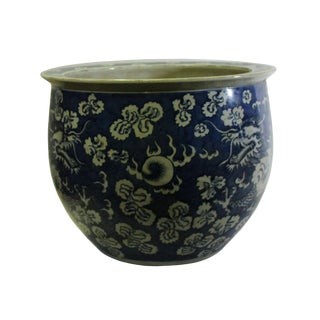 Chinese Blue White Oriental Dragons Theme Ceramic Pot Planter For Sale