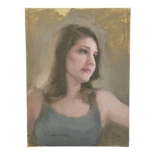 Midcentury Female Portrait Oil Painting Study For Sale
