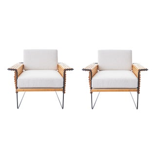 1950s Wrought Iron and Bamboo Ski Club Chairs by Shirley Ritts - a Pair For Sale