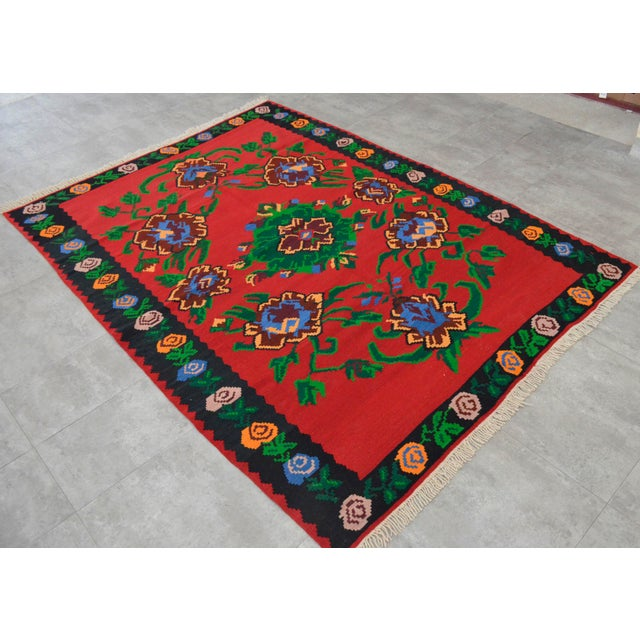 Vintage Turkish Floral Kilim Area Rug - 5′3″ X 7′5″ For Sale - Image 4 of 8