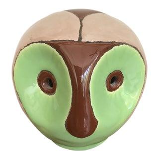 1970s Figurative Green Ceramic Owl Figurine For Sale