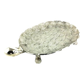 1980s Giant Sea Turtle Carved Aluminum Catchall Tray For Sale