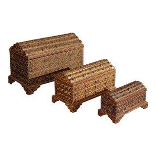 Set of Three Decorative Asian Thai Gilt Boxes