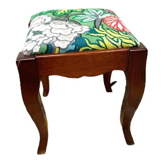 Early 20th Century Footstool With Schumacher Fabric For Sale