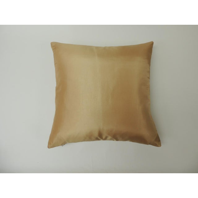 """Pair of Golden Silk Embroidery """"Royal Palm"""" Silk Decorative Pillows For Sale - Image 4 of 7"""