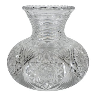 Early 1900's Large American Brilliant Cut Glass Vase For Sale