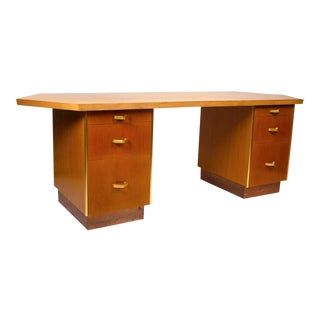 Custom Designed Frank Lloyd Wright Double Pedestal Desk for the Price Tower For Sale