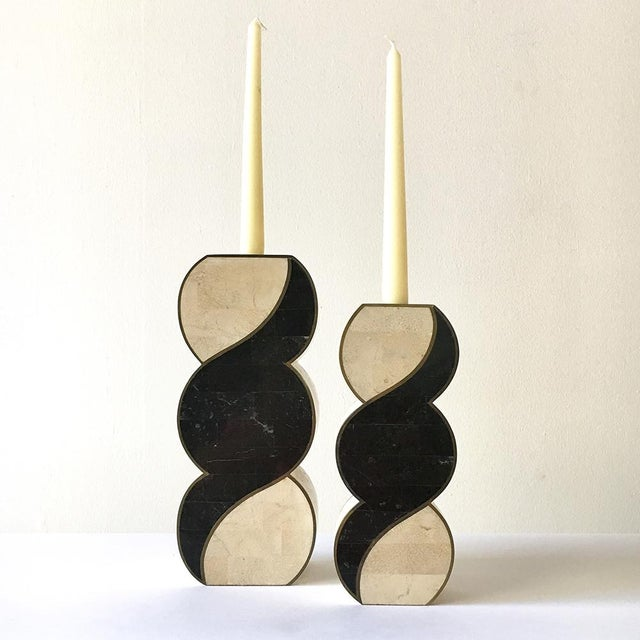 Maitland - Smith Pair of Tessellated Stone Candlesticks by Maitland Smith 1980s For Sale - Image 4 of 4
