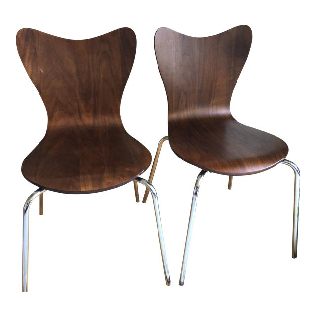 West Elm Scoop Back Chairs - A Pair - Image 1 of 6