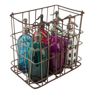 Vintage Seltzer Bottles in Basket - Set of 6 For Sale