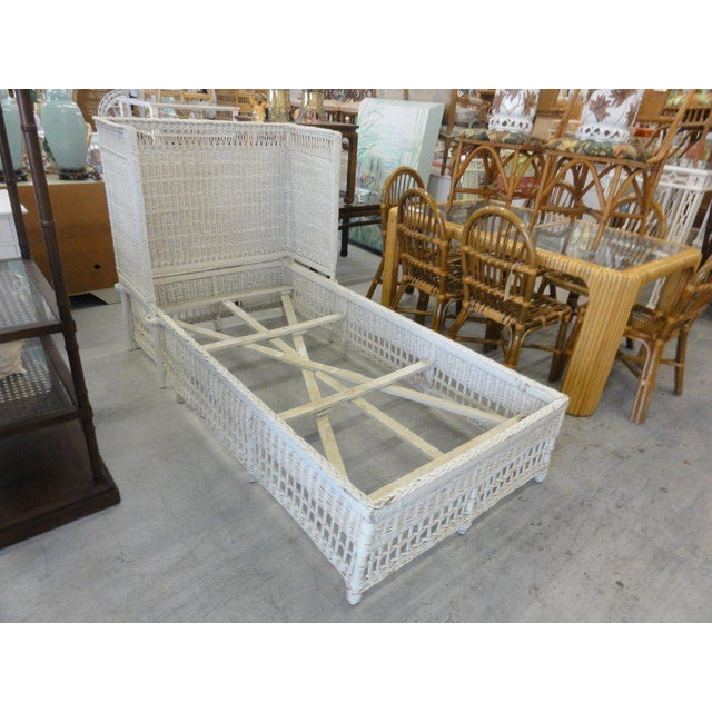 Late 20th Century Vintage Hooded Wicker Twin Bed For Sale - Image 5 of 7