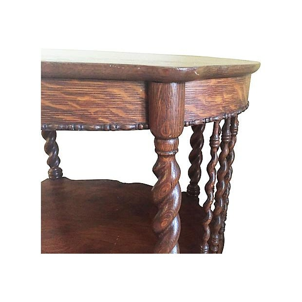 """Rare antique barley twist quarter sawn oak two tiered side table. Second shelf is 12""""H from floor. Stunning hand carved..."""