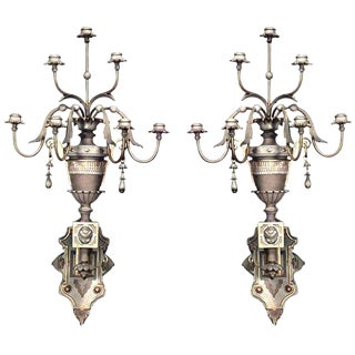 Victorian Painted and Gilt Trimmed 7 Arm Wall Sconces - a Pair For Sale