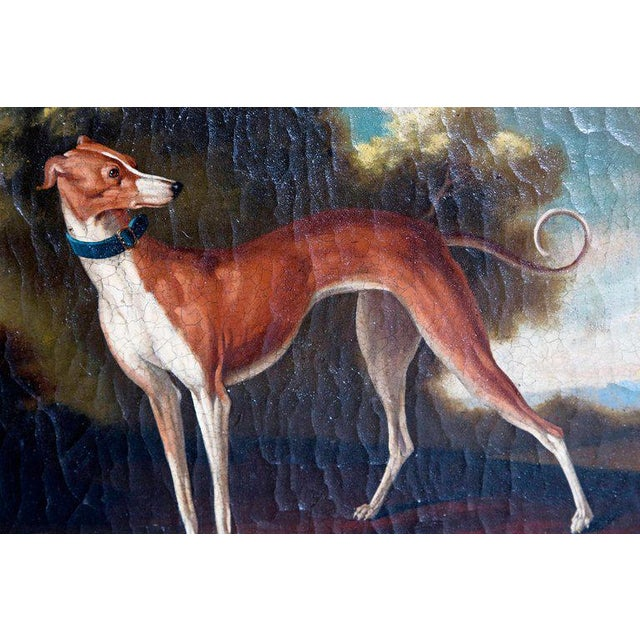 19th Century English Oil on Canvas of Whippet in a Landscape For Sale - Image 11 of 13