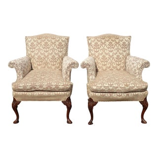 Pair of Vintage French Country Damask Lounge Chairs W Down Feather Cushions ASIs For Sale