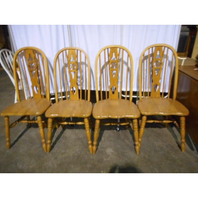 Wheeled Dining Chairs: Windsor Oak Dining Room Chairs Wagon Wheel - Set 4