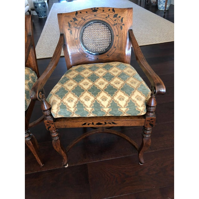Lovely pair of Anglo-Portuguese armchairs with caned seats and circular caned insert to back having marquetry detail on...