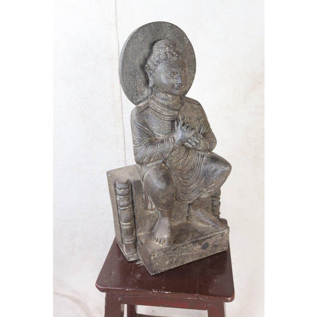 Early 20th Century Granite Sitting Buddha, India, Early 1900s For Sale - Image 5 of 10