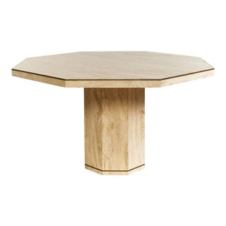 Travertine Octagonal Dining Table With Brass Trim For Sale