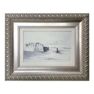 Antique English Graphite Seascape Drawing With Watercolor Wash For Sale