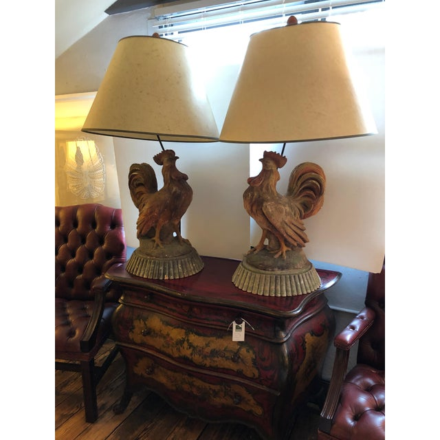 Dramatic Rooster Lamps From Montana Lodge With Shades - a Pair For Sale - Image 4 of 13