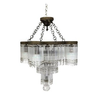 Antique Art-Deco Tiered Crystal and Bronzed Five-Light Chandelier For Sale