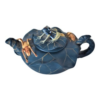 Frog Spider and Beetle Chinese Yixing Ware Teapot For Sale