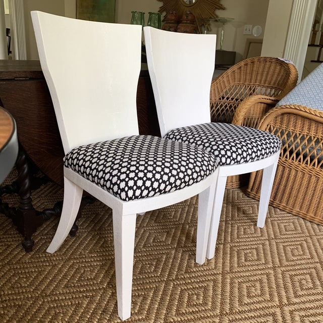 Made Goods White Made Goods Faux Shagreen Side Chairs- a Pair For Sale - Image 4 of 11