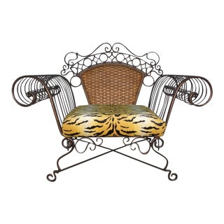 Contemporary Exotic Designer Iron and Rattan Scroll Arm Lounge Chair