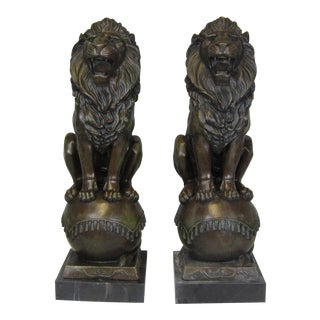 Vintage Lions on Ball Bronze Statue-a Pair For Sale