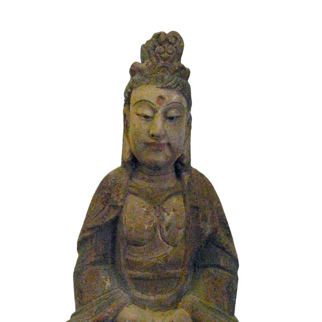 "This is a Chinese decorative wooden Kwan Yin statue. It is finished in vintage rustic look. Dimensions: w11.5"" x d8""x h24""..."