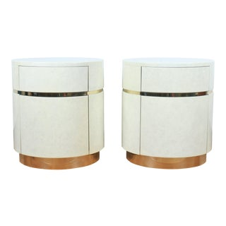 Lacquered Pair of Side Tables W/ Brass Accent For Sale