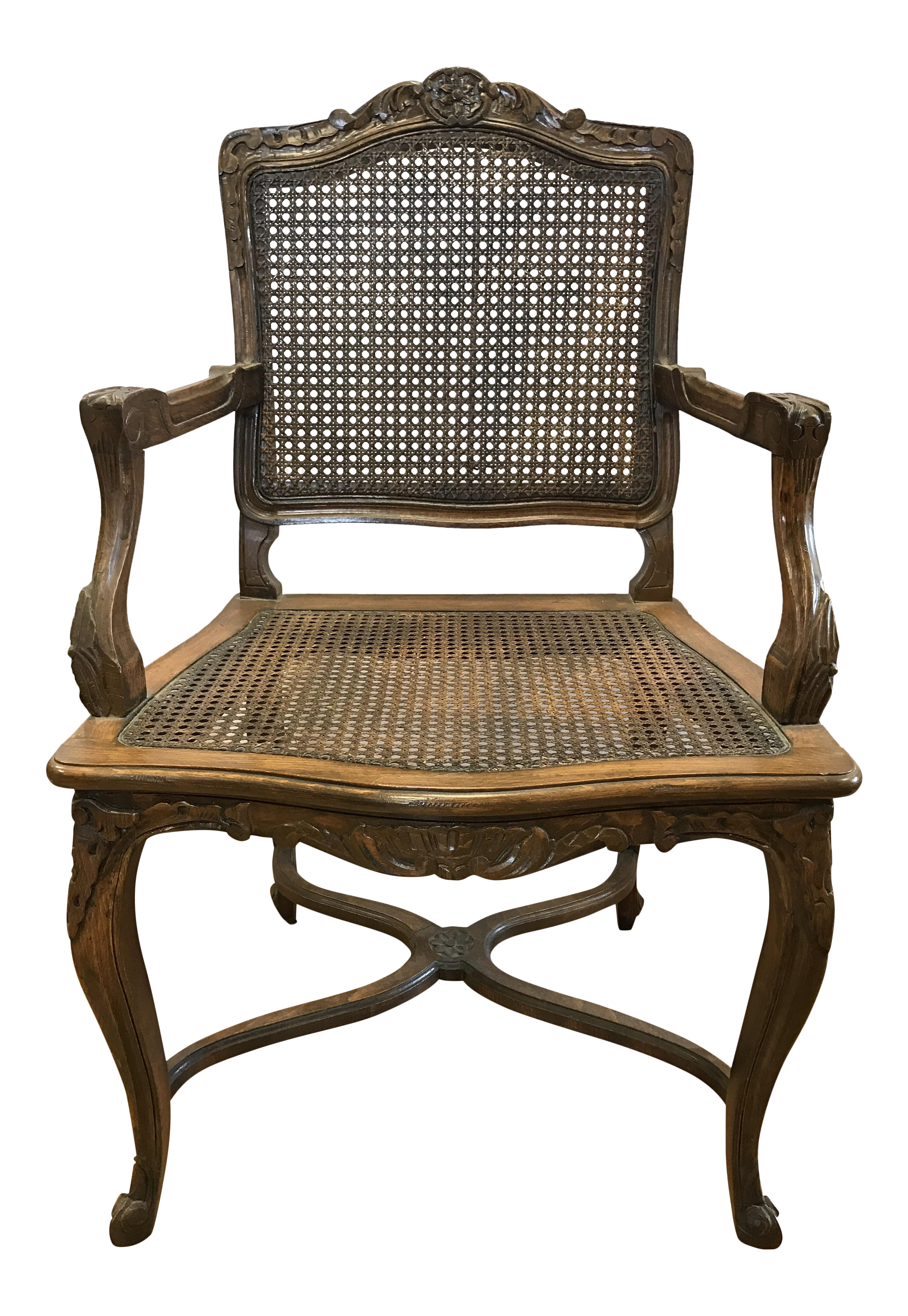 Antique French Louis XVI Carved Cane Chair