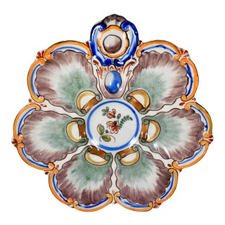St. Clément French Faïence Orange Rim Floral Oyster Plate For Sale