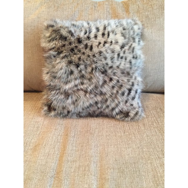 Animal Print Real Fox Fur Square Decorative Accent Pillow - Image 6 of 6