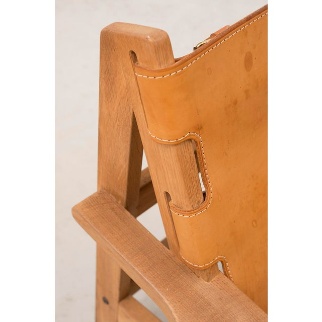 Wood Pair of Kurt Ostervig Hunting Chairs in Oak and Leather, Denmark 1960s For Sale - Image 7 of 11