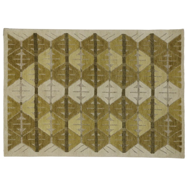 """Geometric Design High & Low Pile Rug - 5'5"""" x 7'7"""" For Sale - Image 4 of 4"""