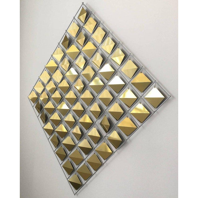 Abstract Curtis Jere Brass Diamond Kinetic Wall Sculpture For Sale - Image 3 of 9