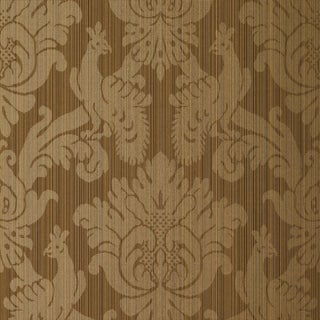 Sample - Schumacher Valette Strie Damask Wallpaper in Mahogany For Sale