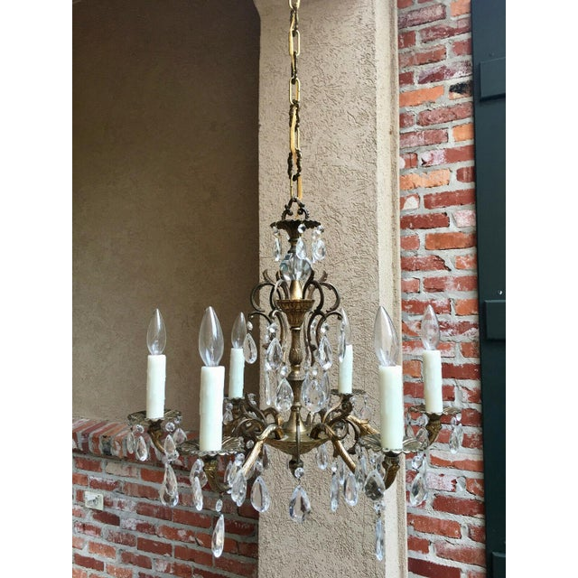 Gold Vintage Six Light French Brass and Crystal Chandelier For Sale - Image 8 of 13
