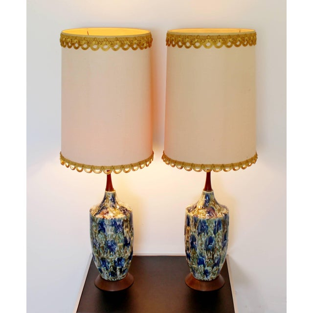 Blue 1960s Mid-Century Modern Blue Drip Lava Glaze Ceramic Table Lamps - a Pair For Sale - Image 8 of 8