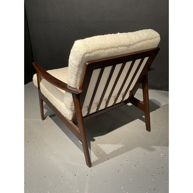 Mid-Century Modern Lounge Chairs/ Style of Ib Kofod-Larsen, Plush Sherpa - a Pair For Sale In New York - Image 6 of 11