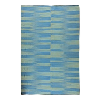 Blue and Green Striped Area Rug For Sale